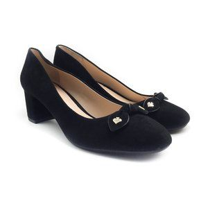 KATE SPADE Black Benice Suede Pumps With Bow